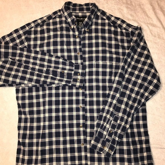 Eddie Bauer Other - Eddie Bauer XL TALL long sleeve plaid shirt, Navy